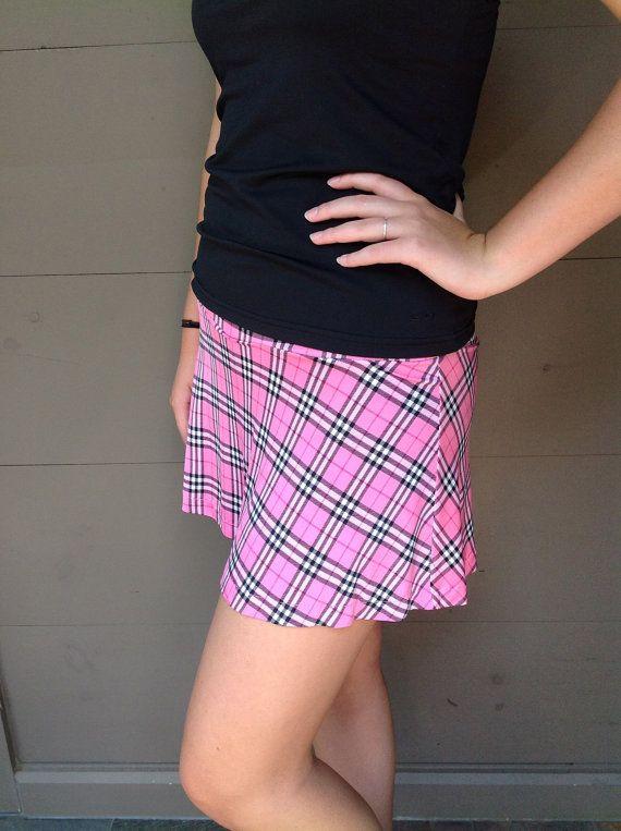 Pink Burberry Like Plaid Tennis Running Skirt by LuckyDotDesigns, $45.00