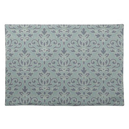 Scroll Damask Pattern (outline) Cream Blue Teal Cloth Placemat - kitchen gifts diy ideas decor special unique individual customized