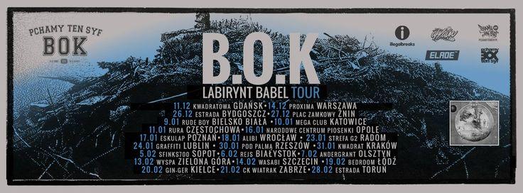 Labirynt Babel Tour B.O.K (BiszOerKay DjPaulo) zawita do Poznania już 17.01! B.O.K podczas Touru występować będzie w pełnym, ośmioosobowym, instrumentalnym składzie. W trakcie półtoragodzinnego live show w Eskulapie zespół przedstawi specjalnie przygotowany repertuar.