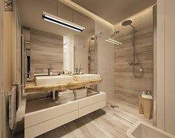 łazienka w ciepłych odcieniach - zdjęcie od art inside - studio projektowania wnętrz i ogrodów