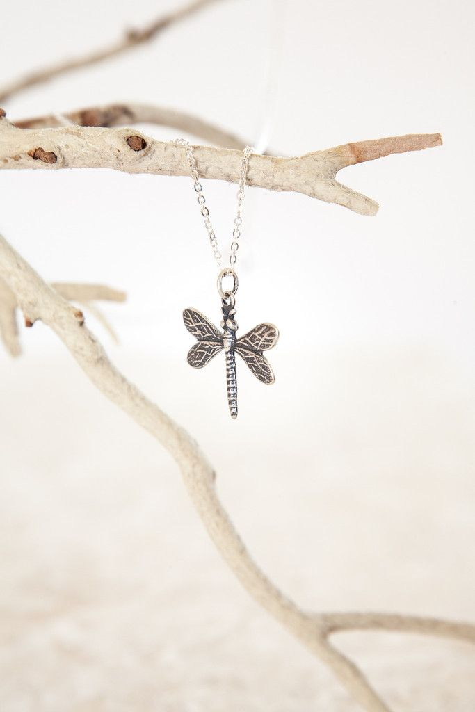 Delicate Silver Plated Baby Dragonfly Necklace. Dragonflies are so lovely and this handmade necklace by Ornata is my fav!