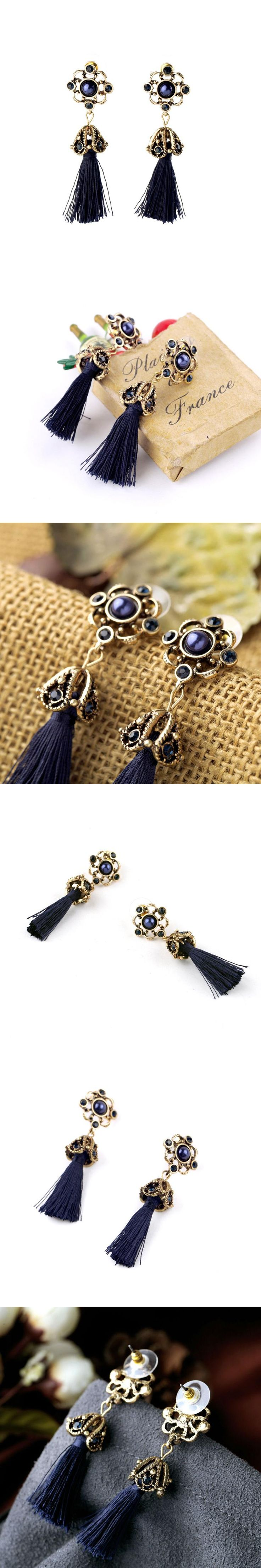 2016 New Fashion Ethnic Style Chunky Tassel Earring For Costume Party Pierced Cheap Earring Wholesale Feminine Drop Earring