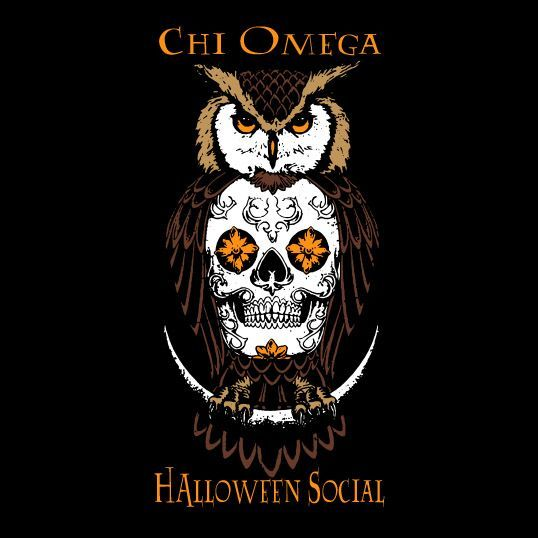 Chi Omega | Halloween Social | Mixers | Owl | ChiO | Skull | Spooky | Cute Designs | T-Shirt Ideas | Greek Life | shirtsforgreeks.com