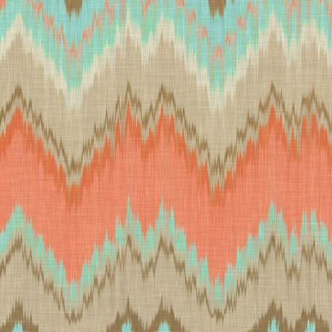 Designer Zig Zag Pillow - Coral Aqua Blue Ikat Chevron Pillow Cover - Turquise Orange Coral Beige Throw Pillow