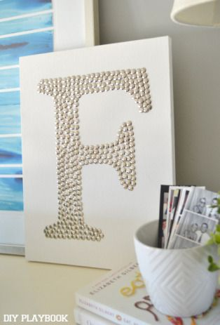 Pushpin Monogram thumb tack monogram canvas art.
