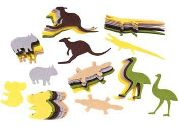 Felt Australian Animals Shapes, great for crafting with
