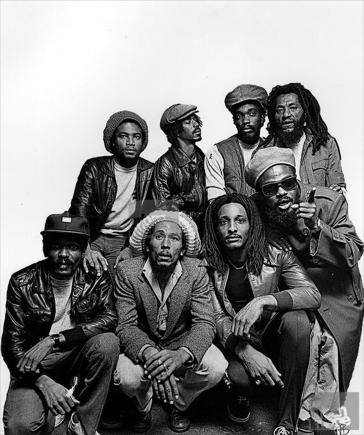 Bob Marley and the Wailers group photo taken at the Kensington Hilton, 1980. Copyright:(c) 56 Hope Road Music