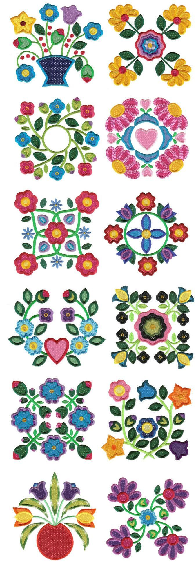 applique baltimore album blocks machine embroidery designs: