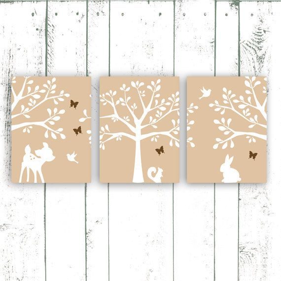 Nursery Prints Set of Three Woodland Nursery Tree Wall Decor Art Prints Deer, Bunny and Birds - Choose Your Color