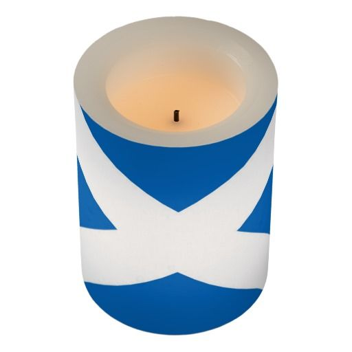 Scotland flag flameless candle. Lovely clear blue and white lines.