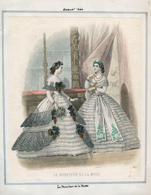 Le Moniteur de la Mode, August 1860. LAPL Visual Collections.  Civil War Era Fashion Plate