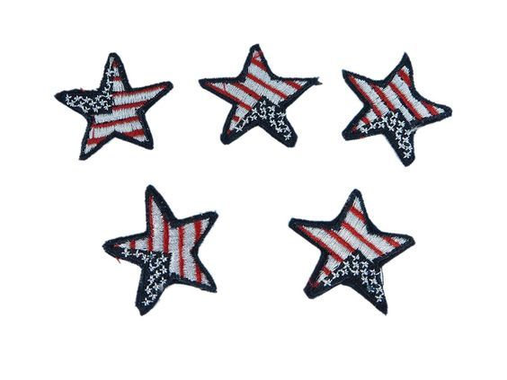 5 pieces Patriotic star American Flag Stars Iron on Sew on Embroidered Patch Applique Badge Motif *** You can get more details by clicking on the image.