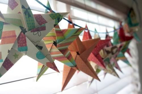5 pointed origami star garland