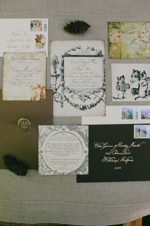 grumpy cat wedding invitations%0A eclectic wedding invitation suite with vintage kittens    photo by Milou  and Olin