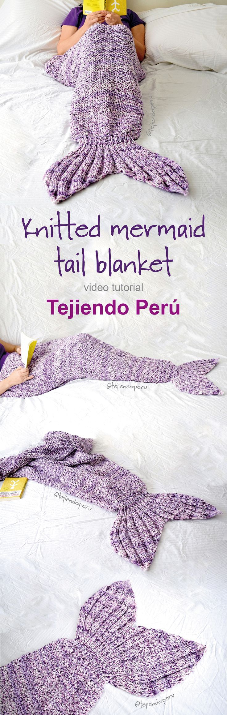 Mermaid tail knitted blanket: english subtitles video tutorial! #mermaidtail