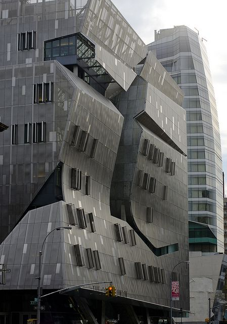 The addition at Cooper Union Square, New York to the The Cooper Union for the Advancement of Science and Art college, commonly referred to simply as Cooper Union. Designed by Thom Mayne of Morphosis Architecture with associate architect Gruzen Samton. Construction completed 2009.