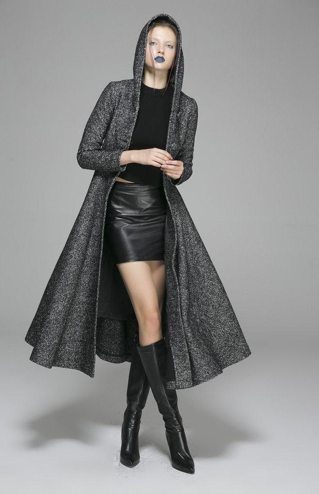 Lange Mäntel - Grau-Mantel-Frauen-Winter-Mantel-Jacken (1374) - ein Designerstück von yanhuayue bei DaWanda