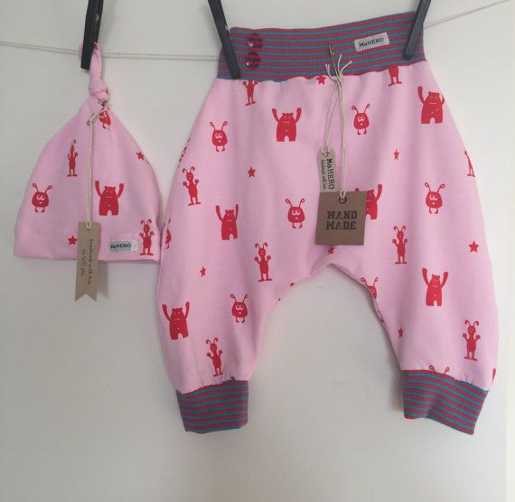 SET Baby harem pants Pink Alien  Baby Beanie / by MaHEROsydney