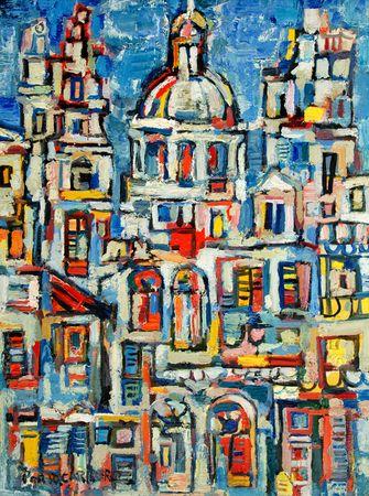 Cuban Art - René Portocarrero Paisaje de La Habana