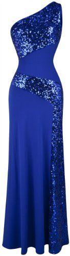 Angel-fashions Women's One Shoulder Sleeveless Splicing Sequins Full Length Dress Medium Blue