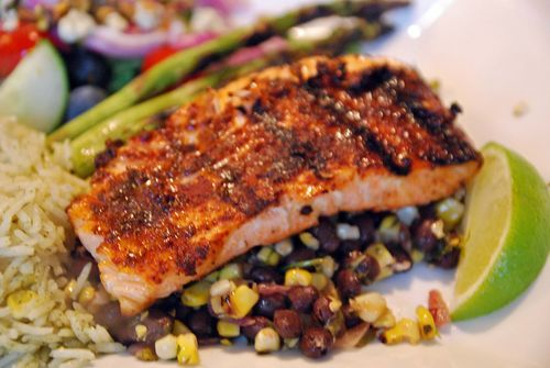 Smoky Spicy Rubbed Grilled Salmon with Black Beans and Corn