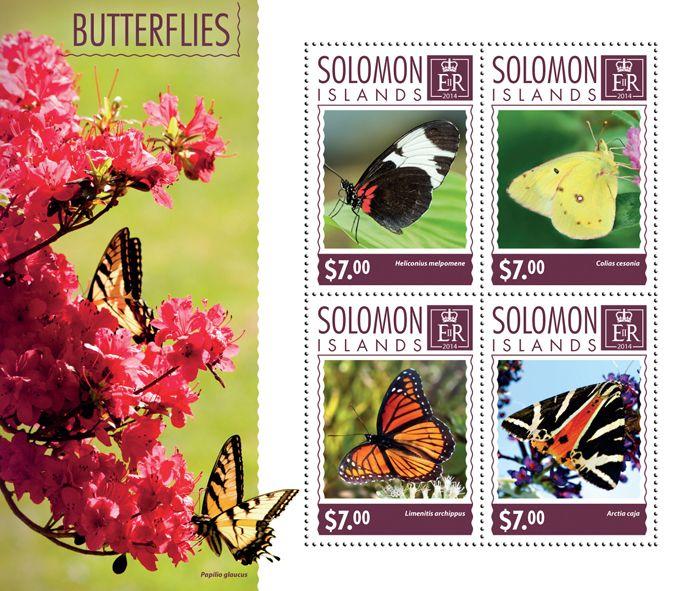 Post stamp Solomon Islands SLM 14602 aButterflies (Heliconius melpomene, {…}, Arctia caja)