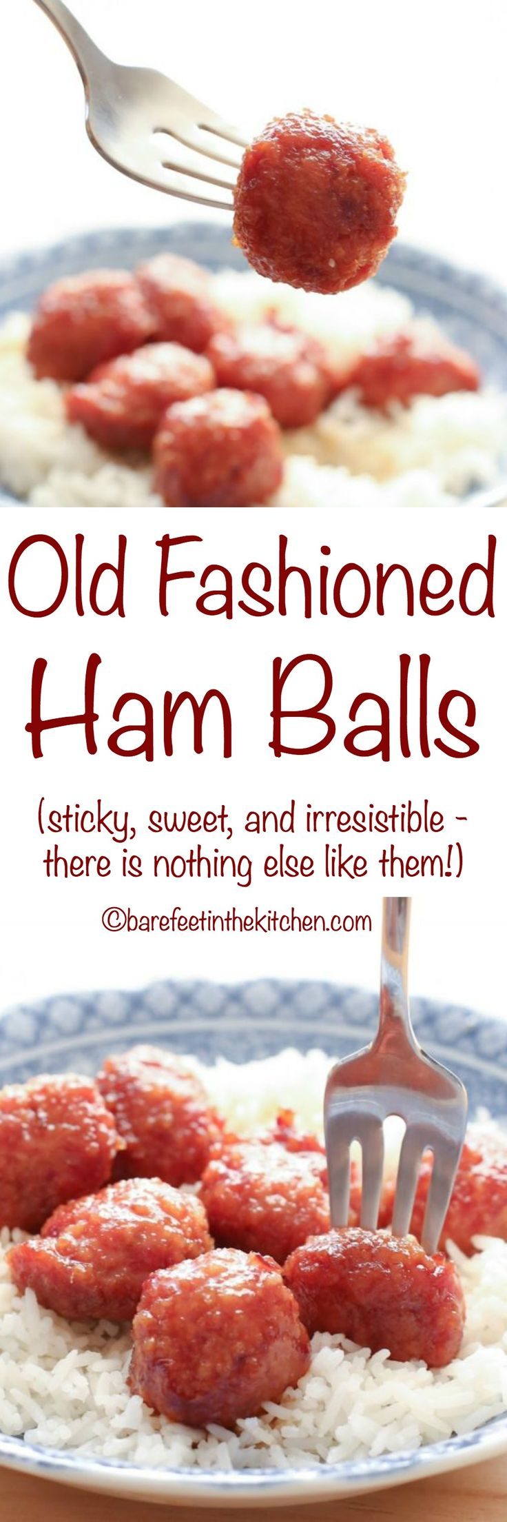 Old Fashioned Ham Balls are sticky, sweet, and completely irresistible! get the recipe at barefeetinthekitchen.com