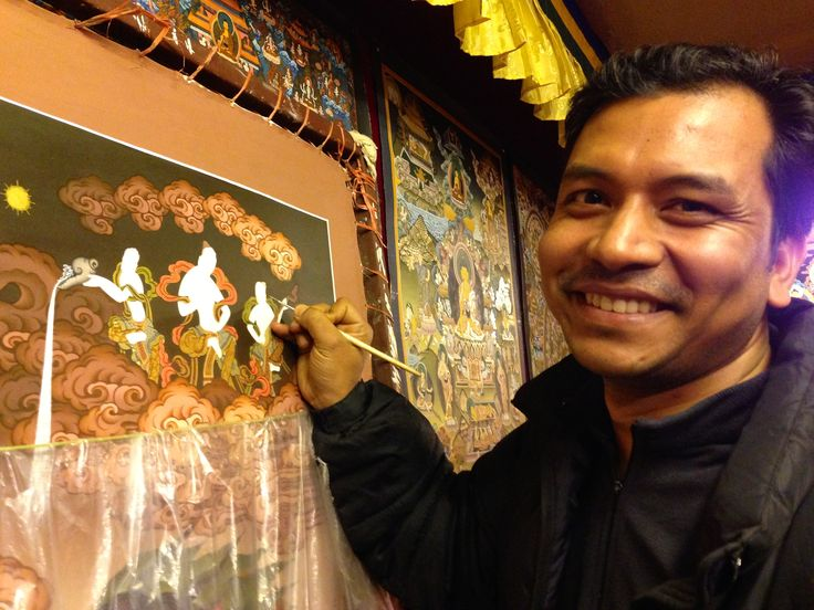 Bishnu, a well known Thanka painter in Nepal. We have many of his Tahnka paintings at our shop on display.