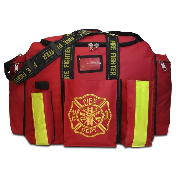 The largest true step-in firefighter gear bag on the market Large enough to hold all of your gear in the main compartment  Front pockets for flashlight, radio, and clip board.