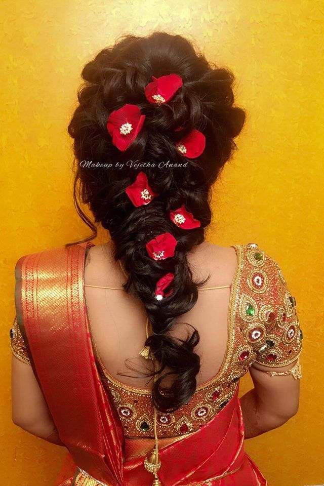 Spring Is In The Hair Bridal Hairstyle For Reception Indian Bride