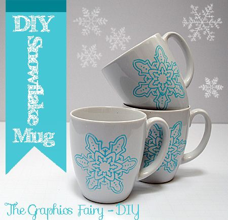The Graphics Fairy - DIY: DIY - Painted Snowflake Mugs - Repurposed #Winter #Tutorials