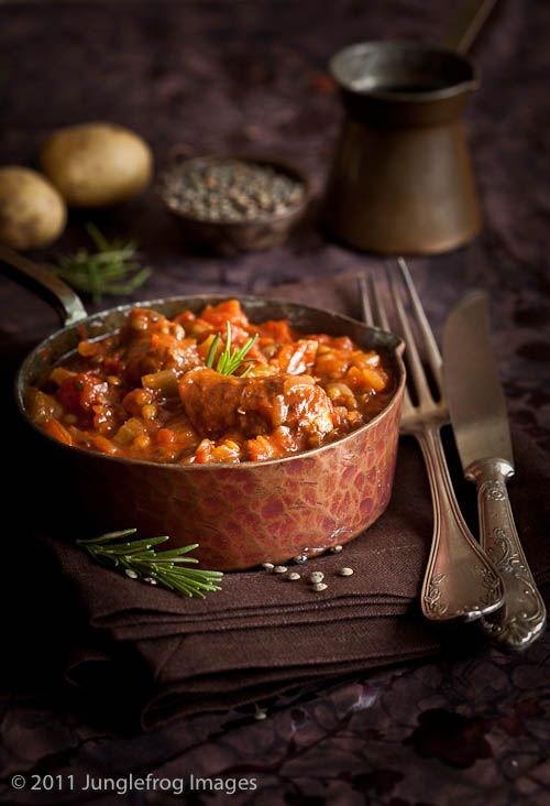 Comforting Italian Sausage Stew with Puy Lentils.