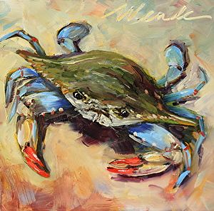 "Blue Crab-2 by Wende Szyperski Oil ~ 6"" x 6"""