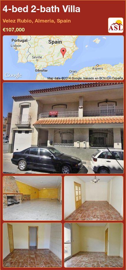 4-bed 2-bath Villa in Velez Rubio, Almeria, Spain ►€107,000 #PropertyForSaleInSpain