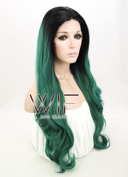 Black Mixed Green Ombre Lace Front Synthetic Hair Wig Kylie Jenner Inspired LF811