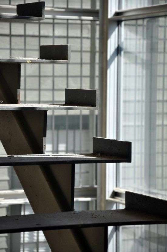Modern steel stairs detail