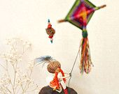 Girl flying a kite Mobile earthy home decor, Rainbow colors, Sprig inspiration, Recycled Art,
