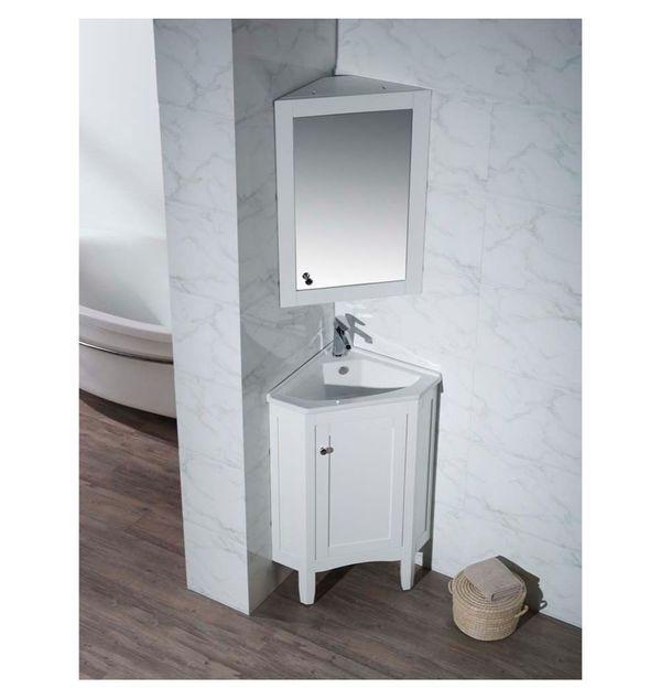 Stufurhome Monte White 25 Inch Corner Bathroom Vanity Corner Bathroom Vanity Double Vanity Bathroom Small Bathroom Sink Vanity