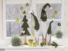 Mon Decor Stimmungsbild Weihnachten. Wichtel. Zwerge. Grün. Fensterbank. Green. Christmas.