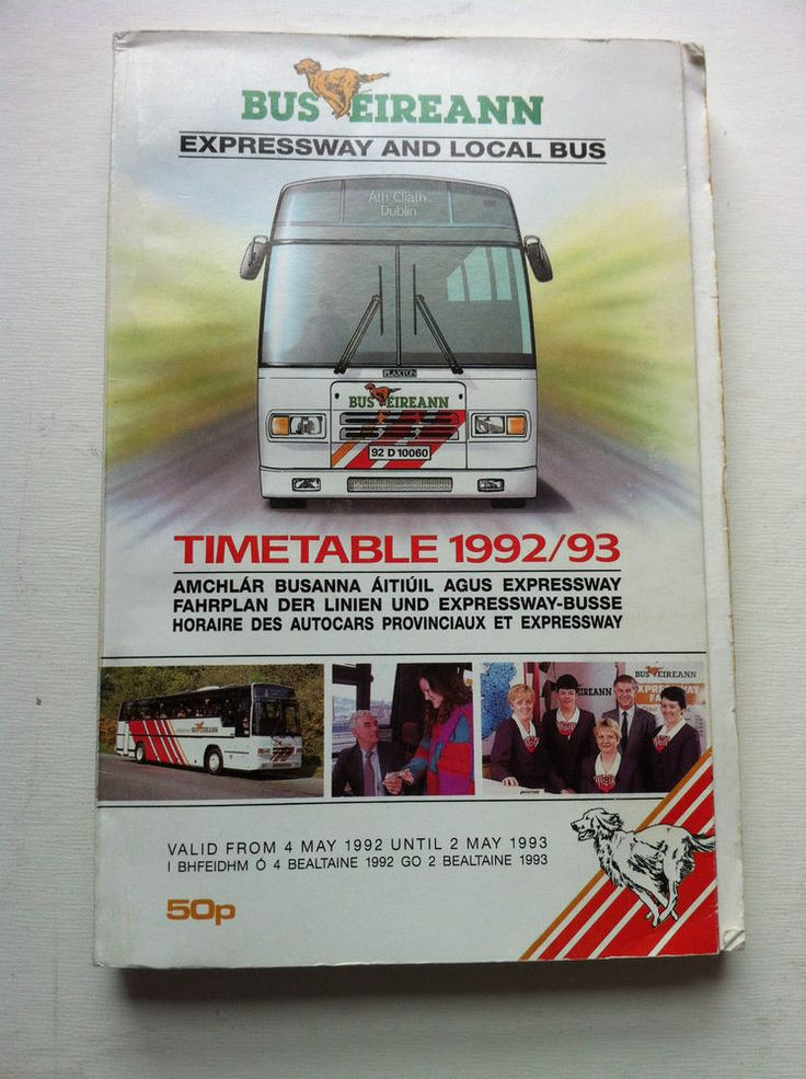 Bus Eireann Timetable 1992/93. Expressway Coaches and Local Bus Transport