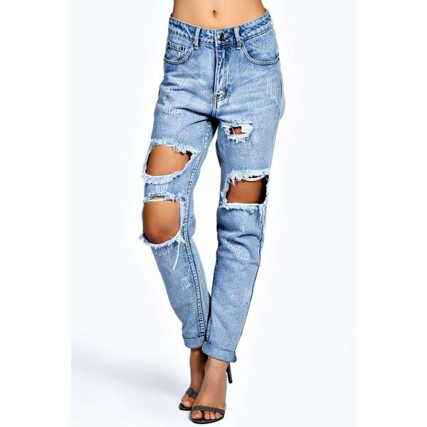 Briana Light Blue Extreme Ripped Boyfriend Jeans ($31) ❤ liked on Polyvore featuring jeans, destructed jeans, distressed boyfriend jeans, blue jeans, torn jeans and destroyed jeans