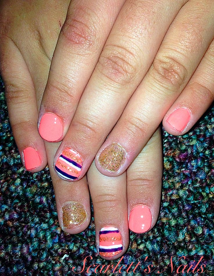 Neon coral navy white and gold striped summer shellac nails