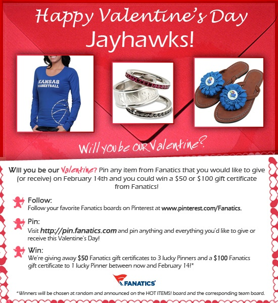 Check out our valentine's Day Pinterest Contest! We're giving away three $ 50 Fanatics gift certificates and one $ 100 Fanatics gift certificate! See graphic for details. Terms and Conditions: http://fanaticssweeps.com/fanaticsvalentinesday/ Start pinning here: http://pin.fanatics.com/default.aspx/source/pin-fanscl-valentines-day-contest-sclmp: Gift Certificates, 50 Fanat, Start Pin, Fanat Gifts, Valentines Day, Graphics, 100 Fanat, Pinterest Contest, Gifts Certificates
