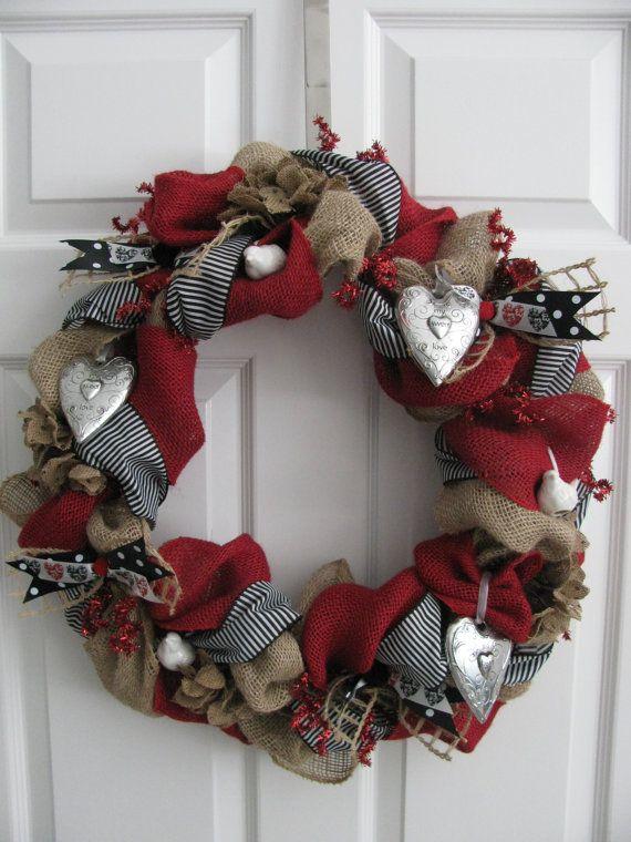 Love Birds Valentine's Burlap Wreath on Etsy, $110.00