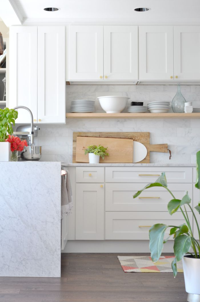 white and wood kitchen - and those cutting big cutting boards! White Shaker  Kitchen CabinetsShaker ...