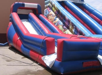 This water slide is 12ft tall and 40 ft long. Great down hill fun! http://partyprofessionals.com/az-attractions/water-activitie/attachment/patrioticslide-2/