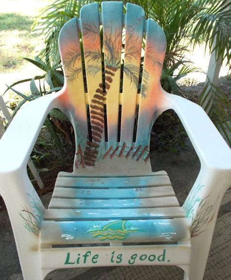 Painted Beach Art Chairs. Porch ChairsPlastic ChairsPlastic Adirondack ...