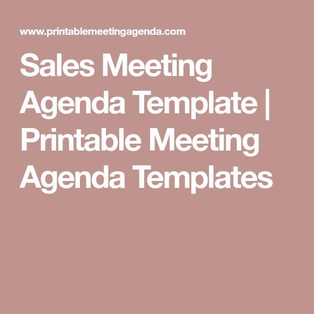 Sales Meeting Agenda Template | Printable Meeting Agenda Templates