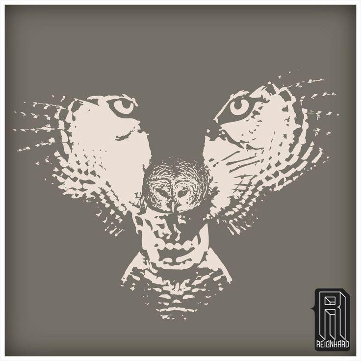 H.owl Wolf Owl Illusion Design on Premium Deep V Neck por Reignhard