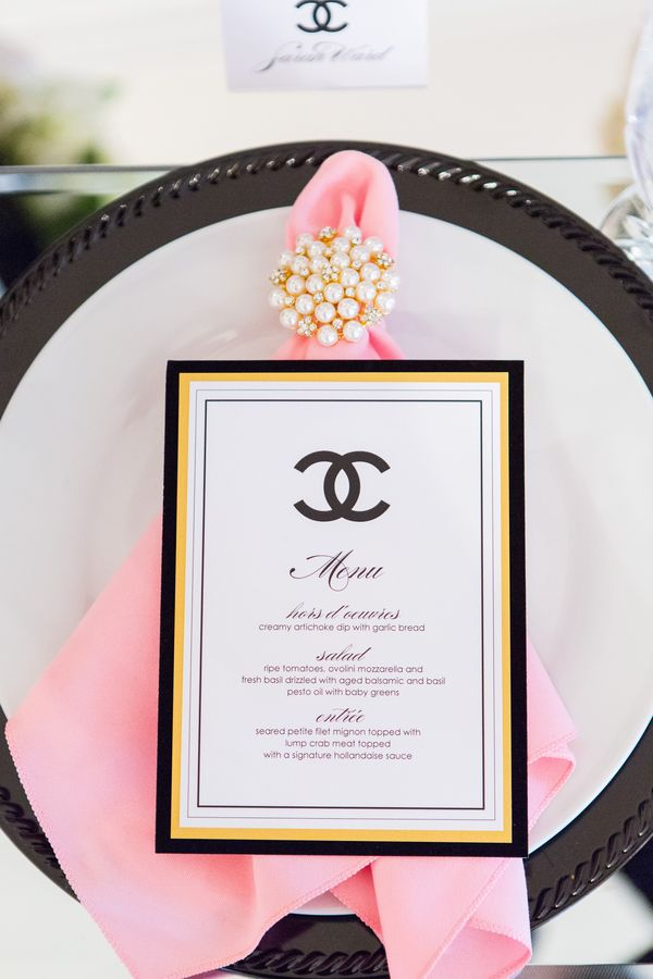 pink black and white bridal shower invitations%0A Coco Chanel themed black and pink wedding